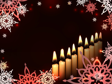 chanukkah: Nine Candles on a dark background - sketch illustration for Hanukkah Chanukah. Greeting card for traditional jewish holiday.