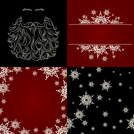 cristmas: set of cristmas background greeting card snowflake seamless background santa beard silhouette red black white