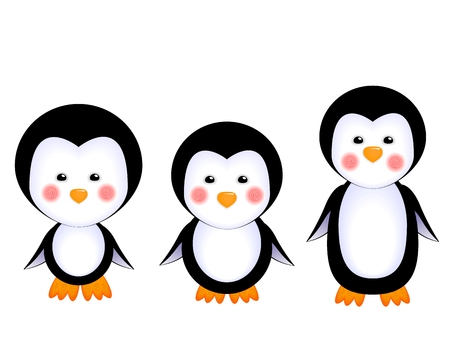 vector illustration of a cute little penguins kids isolated on white background decorations for children holiday invitations cards