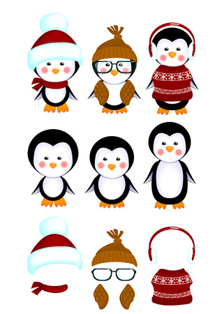 without clothes: vector illustration of a cute little penguins in clothes and without clothes kids isolated on white background decorations for children holiday invitations cards christmas xmas Illustration