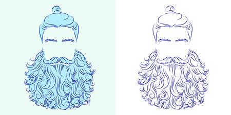 king neptune: vector illustration beard man neptune poseidon silhouette god king symbol blue head
