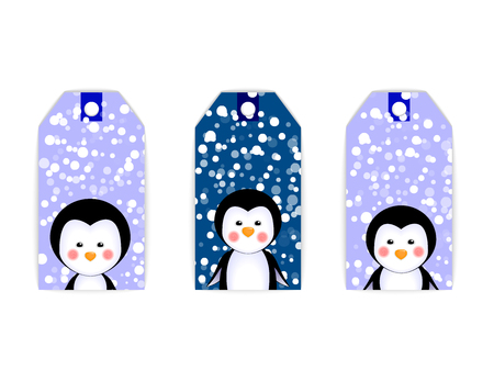 pinguinos navidenos: set collection vector tag label card christmas penguins Vectores