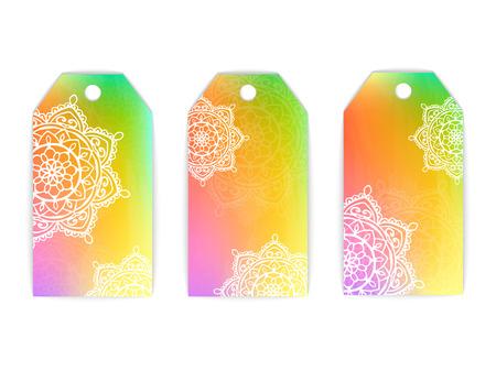 vector tag white mandala rainbow background lace pattern print sun card
