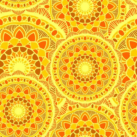 vector seamless pattern mandala sun yelow round ornament background Illustration