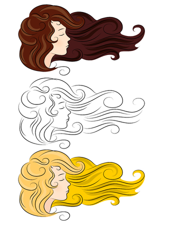 thick hair: vector set silhouette of a girl with developing thick hair different color isolated on white background. Eyes closed, she dozing sleep dreaming
