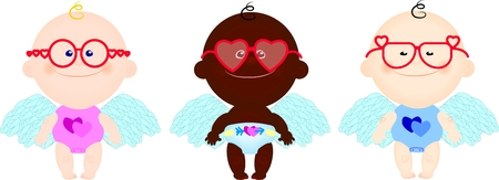 vector set of funny cute children in costume angel cupid in pink spectacles