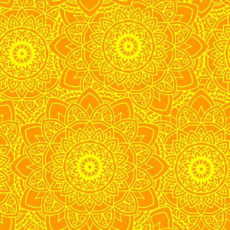vector seamless pattern mandala sun yellow round ornament background