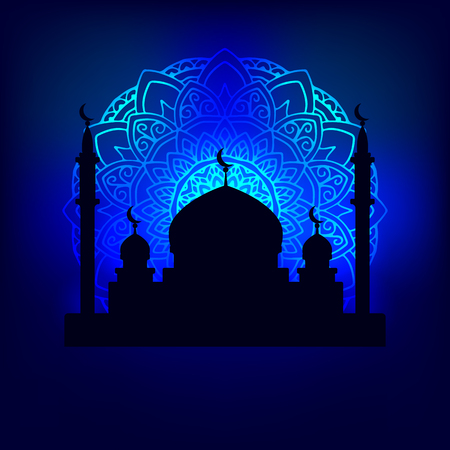 cupola: vector illustration silhouette of the Arab temple in the night sky illuminated pattern mandala moonlight