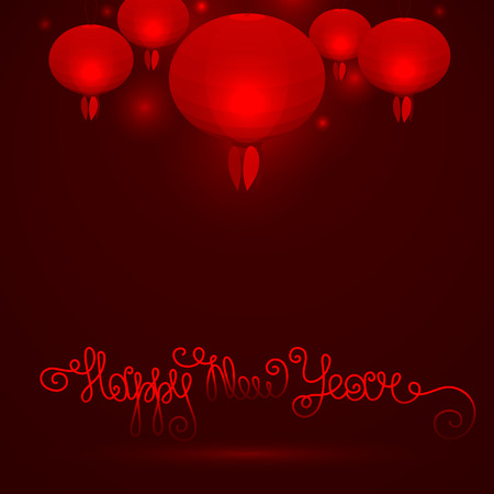 chinese paper lanterns: vector illustration of a glowing red Chinese paper lanterns on a dark background, the lettering happy new year Illustration