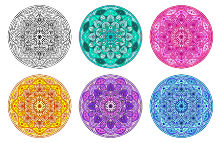 category: vector set mandala in different colors isolated on white background Illustration