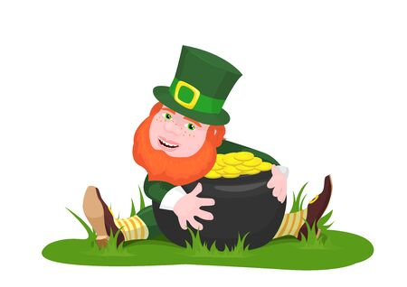 saint pattys day: vector illustration of a leprechaun sitting on the grass hugging a pot of gold and smiling isolated on white background Illustration
