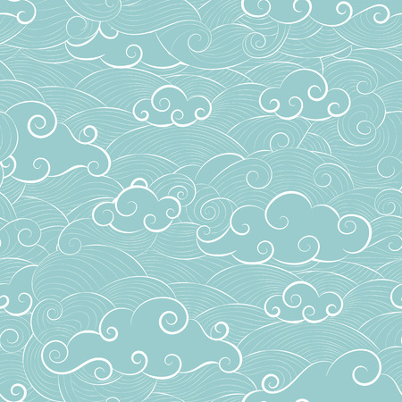 Pattern doodle cloud in the sky lined with curved lines