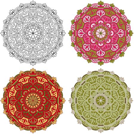 vector set mandala different color isolated on white background