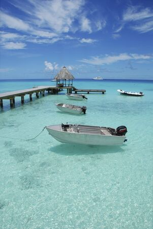 boats: View of a dock with three boats in polynesia