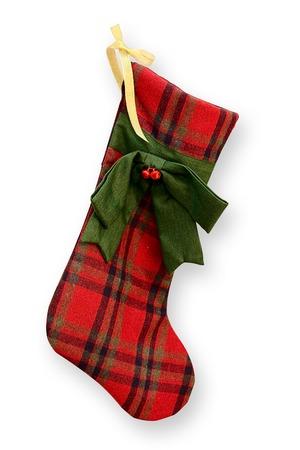 christmas stocking: Red felt Christmas stocking isolated on white background