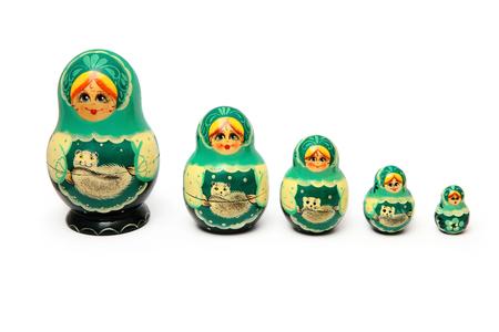 matryoshka doll: Matryoshka doll set isolated on a white background