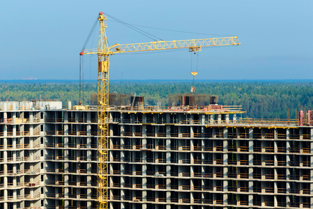 tall buildings: Construction of tall buildings in the background horizon Stock Photo