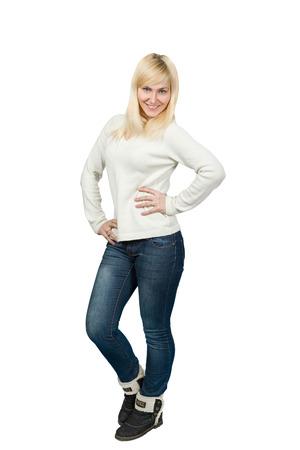 sexy young girl: Портрет красивой блондинки славянской девушка позирует Изолированные на белом фоне.