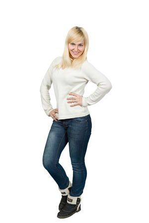 blonde girls: Portrait of a beautiful blonde Slavic girl posing Isolated on white.