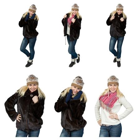 informal clothing: set of fashionable girls, isolated on white background standing