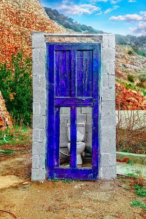 old door: Stylish Blue Old Door in Destroyed Building