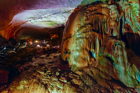 stalagmites: Marble Cave Chatyrdag plateau Crimea Russia by Sergey Nosov Stock Photo