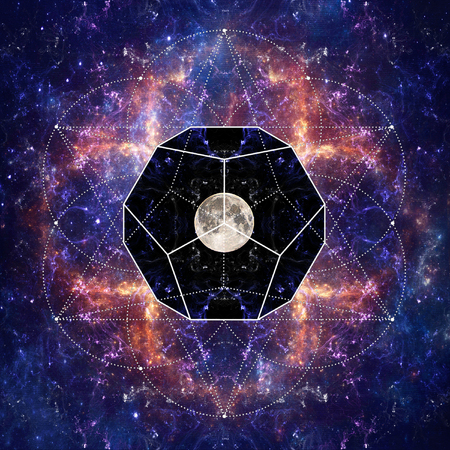 Photo of the Moon and Sacred Geometry by Sergey Nosov Stok Fotoğraf