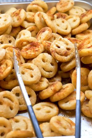 smileys: Potato fried smileys on distribution lines buffet