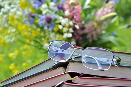 cicuta: Gafas de lectura con una pila de libros abiertos invertidos en el fondo del ramo de flores silvestres y hierba verde