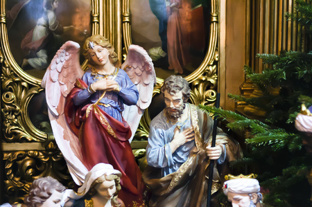 creche: Christmas scene with figures of Mary and Joseph