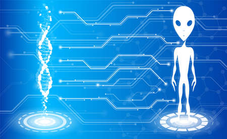 Strand of DNA and an alien on a blue background. Medical technology of the future. Cloning creatures, DNA tests, tests. Ilustración de vector