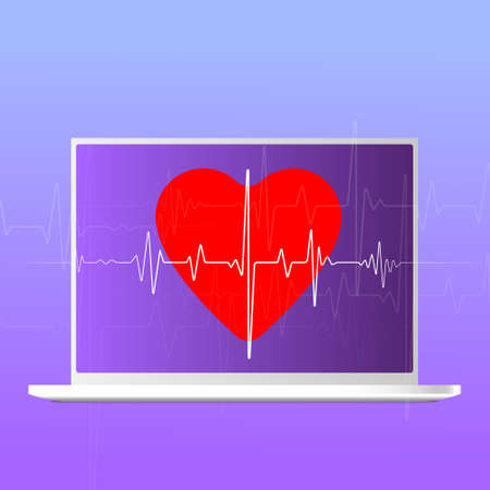 Modern icon with medicine medicine laptop heart. Graphic background communication. Medical app.