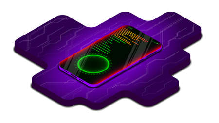 Isometric smartphone. Security concept, Protection against threats in online transactions. Cybersecurity. Vector illustration. Purple. Banque d'images - 167021343
