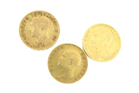 Three gold ancient coins with Napoleon (2 French and one Italian)