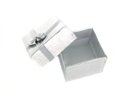 Open silver gift box over white Stock Photo