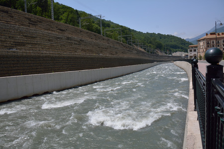 thicken: River with a steep reinforced bank Stock Photo