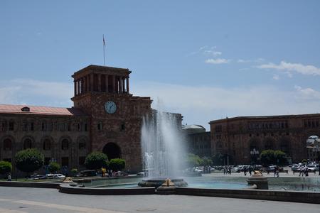 The Republic square in Armenia, Erevan, with the fountain in the centre