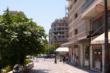 thessaloniki: Busy Thessaloniki street with cafes, transport and people Editorial