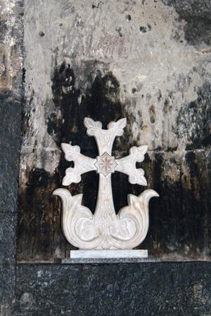 apostolic: White stone cross in Khor Virap church in Armenia
