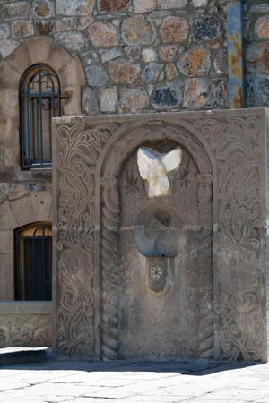 apostolic: Carved stone symbold in the monastery Khor Virap, Armenia Stock Photo