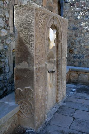 apostolic: Carved cross in Khor Virap monastery, Armenia, side view