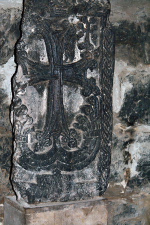 apostolic: Old stone carving with cross (hachkar) in the monastery Khor Virap, Armenia Stock Photo