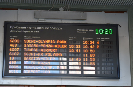 corner clock: An image of a Railway timetable in Sochi (Russia) with light emitting diodes.The names of the stations are written in English, with the clock in the corner.