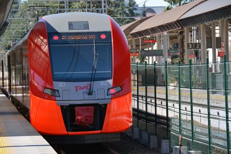 Train in Soshi railway station, heading to Olimpijskij park