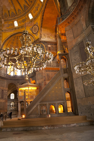 Interior of Saint Sofia church, Istanbul, Turkey, with people in the far