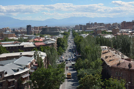 lenina: Mashtoc avenue in Yerevan, Armenia (former Lenina street), with cars, buses abd people Editorial