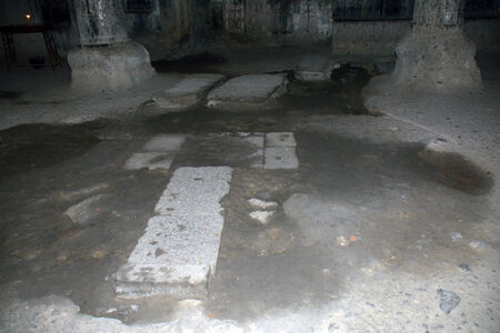 geghard: The floor of the church in Geghard monastery with the tombs