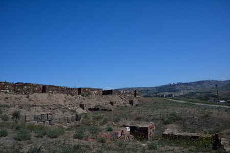 partially: View of Erebuni fortress with partially preserved walls in Yerevan, Armenia