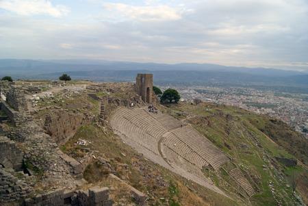 teatro antico: Ancient theatre on the slope, acropolis, Pergam Archivio Fotografico