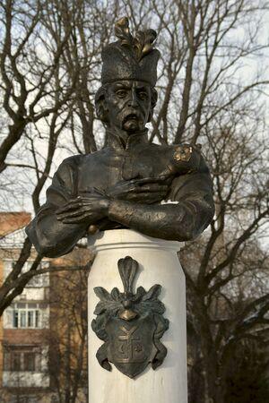 emblem of ukraine: Closeup of the monument to hetman Mazepa in Chernihiv, Ukraine Editorial